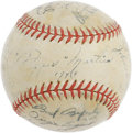 Autographs:Baseballs, 1944 St. Louis Cardinals Team Signed Baseball. With their ranksdecimated by the draft, the Cardinals managed to convince t...