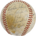 "Autographs:Baseballs, 1946 St. Louis Cardinals Team Signed Baseball. ""Country"" EnosSlaughter's Mad Dash in Game Seven of the World Series this s..."