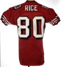 Football Collectibles:Uniforms, 1997 Jerry Rice Game Worn Jersey. An injury-shortened season, yet the greatest receiver of all time still put reasonable we...