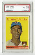 Baseball Cards:Singles (1950-1959), 1958 Topps Ernie Banks #310 PSA NM-MT 8. From the '58 Topps set noted for its brightly-colored backgrounds comes this PSA 8...