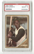 Baseball Cards:Singles (1960-1969), 1962 Topps Roberto Clemente #10 PSA NM-MT 8. High-grade specimen from this widely sought-after Topps issue with the classic...