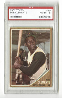 1962 Topps Roberto Clemente #10 PSA NM-MT 8. High-grade specimen from this widely sought-after Topps issue with the clas...