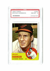 1963 Topps Brooks Robinson #345 PSA NM-MT 8. Brooks Robinson card is one of the cleanest and sharp-focused representatio...