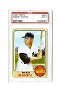 Baseball Cards:Singles (1960-1969), 1968 Topps Mickey Mantle #280 PSA NM 7. Extremely clean example ofthe Mick's classic '68 Topps issue card. This card, one ...