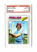 Baseball Cards:Singles (1970-Now), 1977 Topps Mike Schmidt #140 PSA Mint 9. Never in the history ofPSA has a '77 Topps Schmidt ranked higher than the one we ...