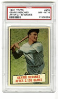 Baseball Cards:Singles (1960-1969), 1961 Topps Lou Gehrig #405 PSA NM-MT 8. This 1961 issue card celebrates the Iron Horse's consecutive games streak of 2,130,...