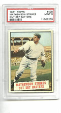 Baseball Cards:Singles (1960-1969), 1961 Topps Christy Mathewson #408 PSA Mint 9. Sharp corners, highgloss and good centering all make this 1961 issue card gr...