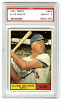 Baseball Cards:Singles (1960-1969), 1961 Topps Duke Snider #443 PSA NM-MT 8. Fine specimen of this 1961 issue that features the Duke following through with hi...