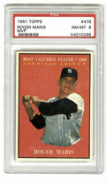 Baseball Cards:Singles (1960-1969), 1961 Topps Roger Maris #478 MVP PSA NM-MT 8. Captured at a momentof true greatness in his career, this card celebrates the...