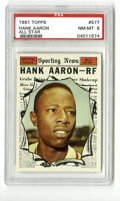 Baseball Cards:Singles (1960-1969), 1961 Topps Hank Aaron #577 PSA NM-MT 8. High-grade card for one of Hammerin' Hank's record 24 All-Star appearances. Wonder...