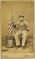 Military & Patriotic:Civil War, CDV PHOTOGRAPH DRUMMER BOY ROBERT HENDERSHOT CA 1860S....