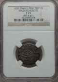 1652 Pine Tree Shilling, Small Planchet, Fine 15 NGC. Noe-29, W-930, Salmon 11-F, R.3....(PCGS# 24)