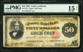 Large Size:Gold Certificates, Fr. 1197 $50 1882 Gold Certificate PMG Choice Fine 15 Net.. ...