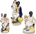 Antiques:Black Americana, Uncle Tom's Cabin: Three Staffordshire Figurines.... (Total: 3Items)