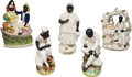 Antiques:Black Americana, Uncle Tom's Cabin: Five Staffordshire Figurines.... (Total: 5Items)