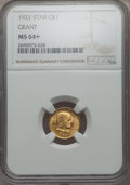 Commemorative Gold, 1922 G$1 Grant Gold Dollar, With Star, MS64+ NGC....