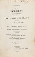 Books:Travels & Voyages, Edwin James. Account of the Expedition from Pittsburgh to theRocky Mountains. Performed in the Years 1819, 1820. ...(Total: 3 Items)