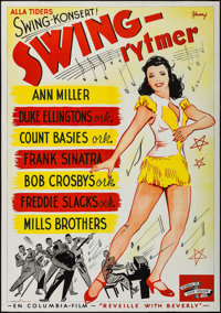 """Reveille with Beverly (Columbia, 1946). First Post-War Release Swedish One Sheet (27.5"""" X 39.5""""). Musical"""