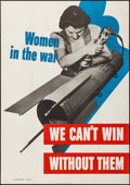 "Movie Posters:War, World War II Propaganda (U.S. Government Printing Office, 1942).War Manpower Commission Recruitment Poster (28"" X 40"") ""Wom..."