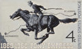 Paintings, Harold von Schmidt (American, 1893-1982). Pony Express, postage stamp illustration, 1960. Gouache on board. 8.25 x 14.25...