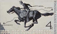 Harold von Schmidt (American, 1893-1982) Pony Express, postage stamp illustration, 1960 Gouache on b
