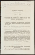 Books:Americana & American History, [Colorado]. Letter from the Delegate Elect from the ProposedTerritory of Jefferson. [Washington, D.C.]: 1860. F...