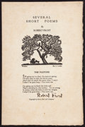 Books:Literature 1900-up, Robert Frost. Several Short Poems. [New York: 1924]. Firstedition, signed....