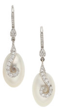 Estate Jewelry:Earrings, Diamond, Freshwater Cultured Pearl, White Gold Earrings, RhondaFaber Green. ... (Total: 2 Items)