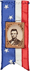 Political:Ferrotypes / Photo Badges (pre-1896), Abraham Lincoln: Superb 1864 Gem Albumen Ribbon Badge....