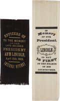 Political:Memorial (1800-present), Abraham Lincoln: Two Silk Mourning Ribbons.... (Total: 2 Items)