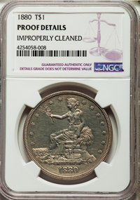 1880 T$1 -- Improperly Cleaned -- NGC Details. Proof....(PCGS# 7060)