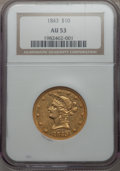 Liberty Eagles, 1843 $10 AU53 NGC. Breen-6861, Triple-Punched Date....