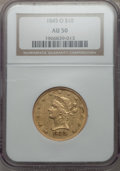 Liberty Eagles, 1845-O $10 AU50 NGC. Variety 6....