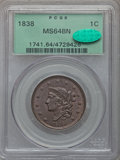 Large Cents, 1838 1C N-5, R.1, MS64 Brown PCGS. CAC....