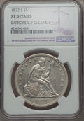Seated Dollars, 1872-S $1 -- Improperly Cleaned -- NGC Details. XF. OC-1, Low R.3....