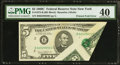 Error Notes:Foldovers, Fr. 1972-B $5 1969C Federal Reserve Note. PMG Extremely Fine 40.....
