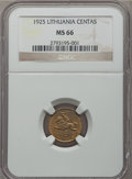 Lithuania, Lithuania: Republic Centas 1925 MS66 NGC,...