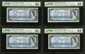 Canadian Currency: , Low Serial Number BC-39c $5 1954 Collection, Four ConsecutiveExamples. ... (Total: 4 notes)