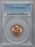 Lincoln Cents, 1971-S 1C MS66+ Red PCGS. PCGS Population (263/26 and 30/5+). NGC Census: (246/30 and 0/0+). Mintage: 525,133,472. ...