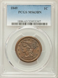 Large Cents: , 1849 1C MS63 Brown PCGS. PCGS Population (32/43). NGC Census: (26/38). Mintage: 4,178,500. CDN Wsl. Price for problem free ...