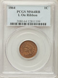 1864 1C L On Ribbon MS64 Red and Brown PCGS....(PCGS# 2080)