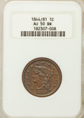 Large Cents: , 1844/81 1C AU50 NGC. PCGS Population (5/17). Mintage: 2,398,752. CDN Wsl. Price for problem free NGC/PCG...