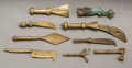 Tribal Art, AKAN, Ghana. Nine Goldweights of Tools and Weapons... (Total: 9Items)