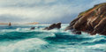 Fine Art - Painting, European:Antique  (Pre 1900), David James (British, 1872-1904). Porth Point, Newquay Bay,Cornwall, 1890. Oil on canvas. 25 x 50 inches (63.5 x 127 cm...