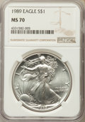 Modern Bullion Coins: , 1989 $1 Silver Eagle MS70 NGC. NGC Census: (438). PCGS Population (4). ...