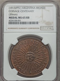 Argentina, Argentina: Republic copper Centenario Medal 1913 MS65 Red and BrownNGC,...
