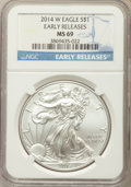 Modern Bullion Coins, 2014-W $1 Silver Eagle, Early Release, MS69 NGC. NGC Census: (2051/6639). PCGS Population (675/2053)....
