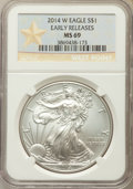 Modern Bullion Coins, 2014-W $1 Silver Eagle, West Point, Early Release, MS69 NGC. NGC Census: (2051/6639). PCGS Population (675/2053)....
