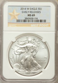 Modern Bullion Coins, 2014-W $1 Silver Eagle, Struck at West Point, Early Release, MS69 NGC. NGC Census: (2051/6639). PCGS Population: (675/2051)...