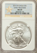 Modern Bullion Coins, 2014-W $1 Silver Eagle, Struck at West Point, Early Release, MS69 NGC. NGC Census: (2051/6639). PCGS Population: (675/2052)...